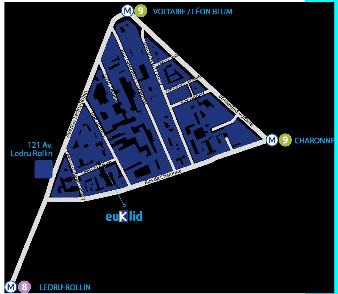 Plan d'accès général au cabinet de conseil SI - Euklid
